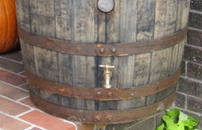 Picture of old Whiskey Rain Barrel Used For Water Collection